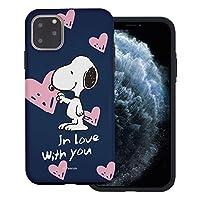 """iPhone 11 Pro ケース/Peanuts Snoopy ピーナッツ スヌーピー ダブル バンパー ケース/二層構造 TPUケース + PCカバー 【 アイフォン 11 プロ ケース (5.8"""") 】 (スヌーピー In Love 藍色) [並行輸入品]"""
