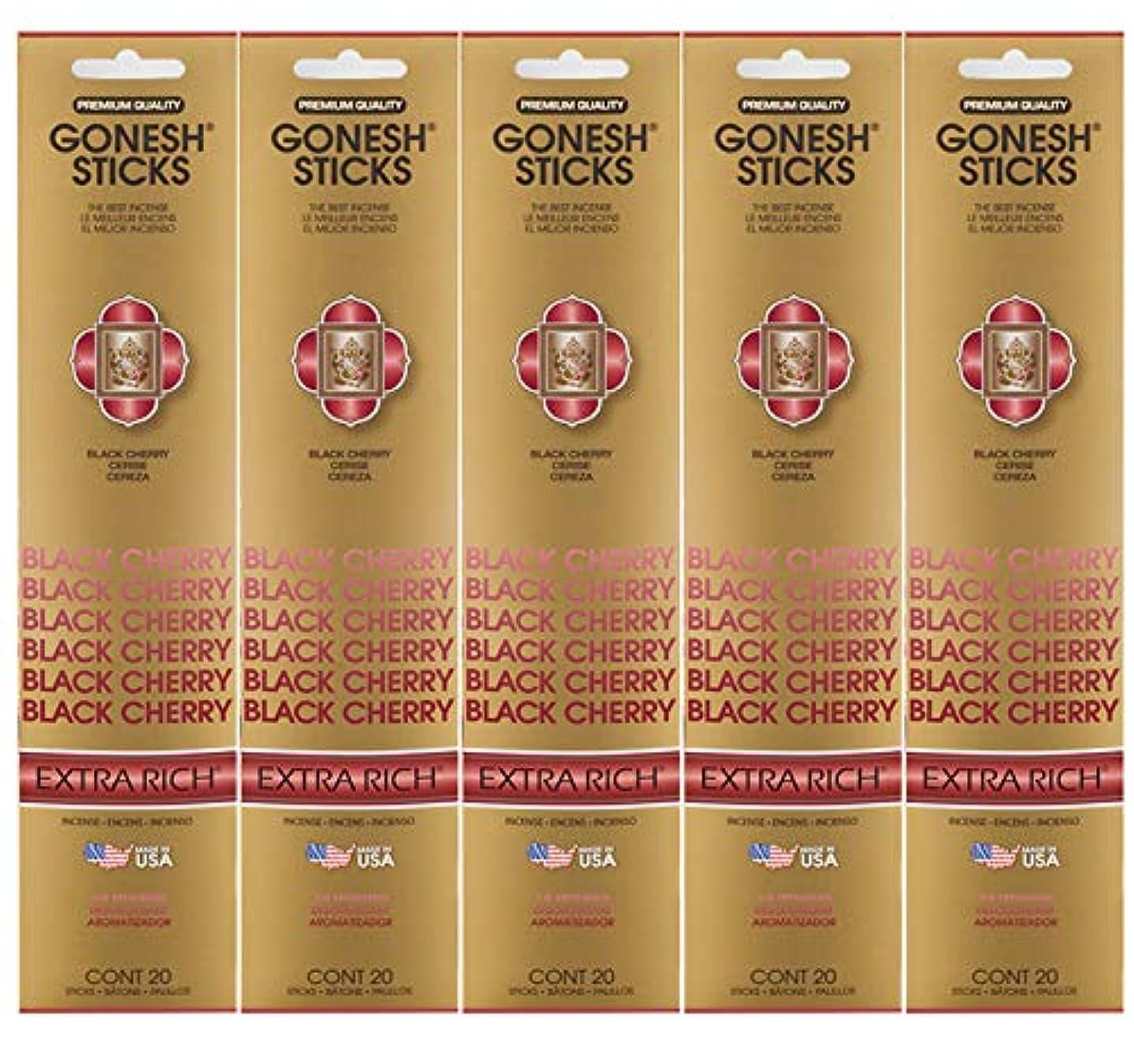 制限する粉砕する面白いGonesh お香スティック エクストラリッチコレクション ブラックチェリー 5パック 合計100本