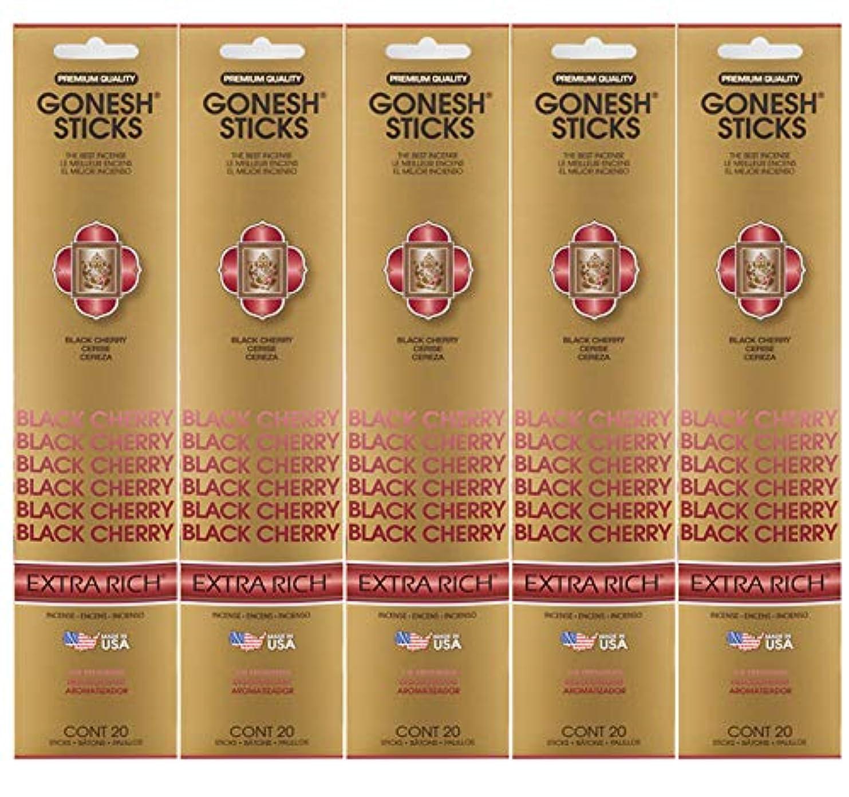 ライトニング心理的に自分のためにGonesh お香スティック エクストラリッチコレクション ブラックチェリー 5パック 合計100本