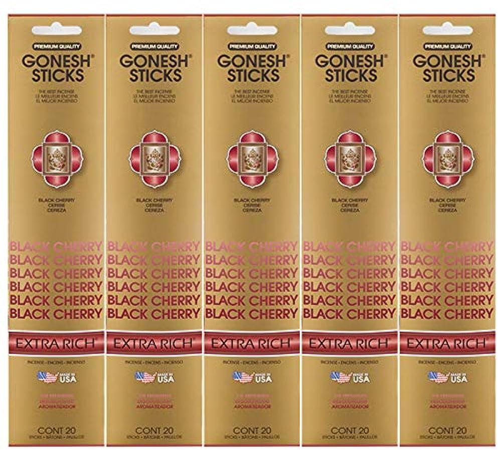 ローズ宣伝苗Gonesh お香スティック エクストラリッチコレクション ブラックチェリー 5パック 合計100本