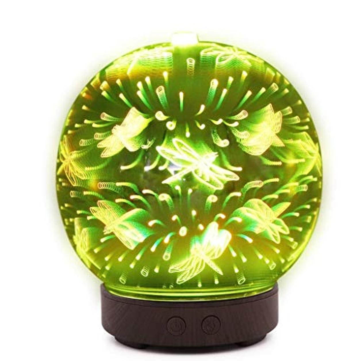 メロディー受動的オッズ自動シャットオフ機能付き100mlミストディフューザー、7色LEDライト&大型水タンク - ホームヨガの寝室のための3D効果ナイトライトアロマ加湿器 (Color : Dragonfly Pattern)