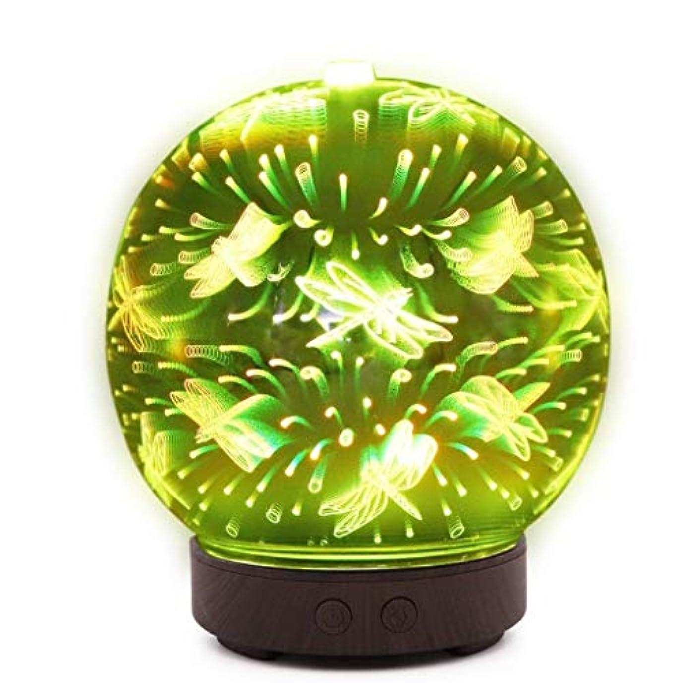完璧歌詞ボトルネック自動シャットオフ機能付き100mlミストディフューザー、7色LEDライト&大型水タンク - ホームヨガの寝室のための3D効果ナイトライトアロマ加湿器 (Color : Dragonfly Pattern)