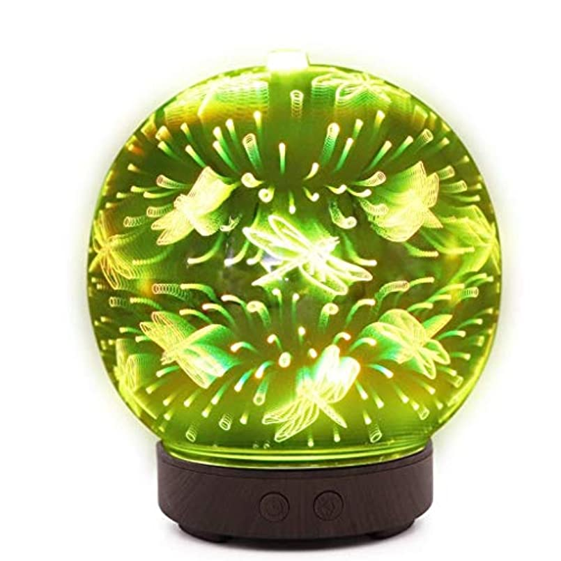 歯騒乱葉巻自動シャットオフ機能付き100mlミストディフューザー、7色LEDライト&大型水タンク - ホームヨガの寝室のための3D効果ナイトライトアロマ加湿器 (Color : Dragonfly Pattern)