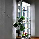 コレクションケース ガラス 側面LED内蔵型 エース2 ハイタイプ(高さ155㎝) 木製コレクション ガラスケース フィギュアケース コレクションボード ディスプレイケース ショーケース (ハイタイプ【白】)