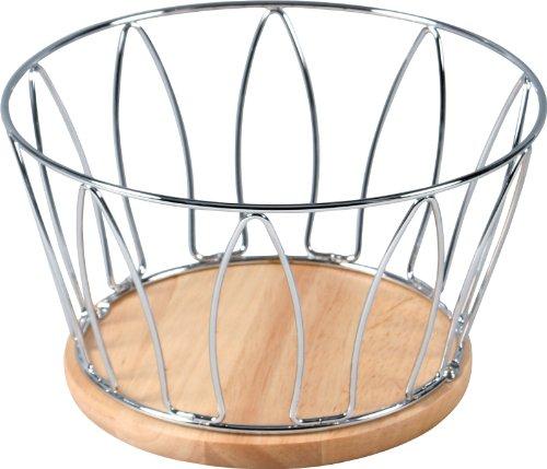 不二貿易 フルーツバスケット 幅22cm ナチュラル 木製 ワイヤー 77131