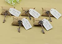 50pcs Wedding Favors Candy Box w/ Antique Skeleton Key Bottle Openers Escort Card Thank You Tag Pillow Box (Key Style - Mixed Copper) by DLWedding