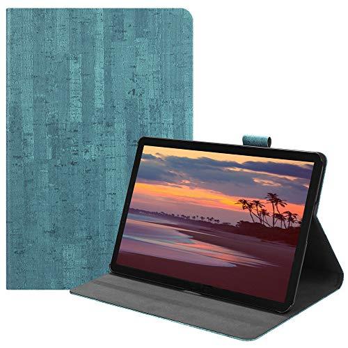 Happon の Samsung Galaxy Tab S4 10.5 inch T835 純正 レザー 財布 シェル カバー, フリップ 立つ, カード スロット, スタイリッシュ, Lake Blue