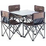 Yilucess キャンプロールテーブル キャンプ イス アウトドアテーブルチェアセット 折り畳み式テーブル 組み立て簡単 超軽量 収納便利 耐荷重80kg アウトドア用 アルミ製 収納ケース付き