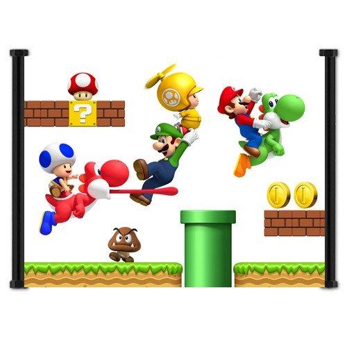Super Mario Bros Wiiゲームファブリック壁スクロールポスター(