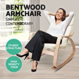 Generic cliner Beige Fabric Recliner Recline Wooden Lounge BRIC Rec Bentwood Rocking Arm on W Beige Arm Cha Chair Cushion