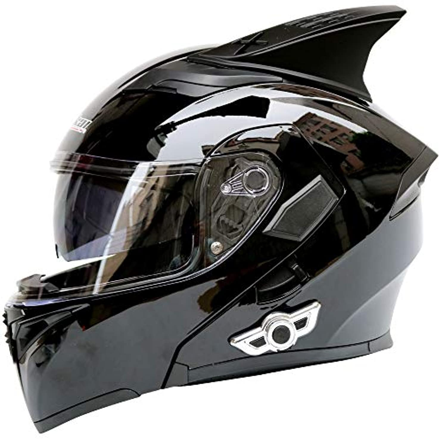 おなじみの考古学者外交官HYH 電動オートバイヘルメット車のBluetoothヘルメットダブルレンズオープンフェイスヘルメットオートバイヘルメット角 - 明るい黒 - 大 いい人生 (Size : L)