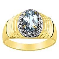 ダイヤモンド&アクアマリンリングスターリングシルバーまたは黄色ゴールドメッキ