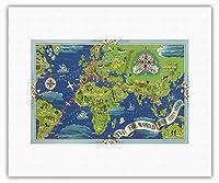 飛ぶ 世界 - R?seau A?rien Mondial (グローバルエアネットワーク) - ルート世界地図フライ - Planishpere - ビンテージな航空会社のポスター によって作成された ルシアン・ブーシェ c.1950 - キャンバスアート - 28cm x 36cm キャンバスアート(ロール)
