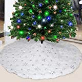 Party Club White Fur Christmas Tree Skirt 48 inches with Sparkly Silver Snowflake Sequin, Luxury Faux Fur Holiday Christmas D