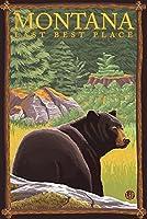 モンタナ最後、最適な場所–Bear in Forest 24 x 36 Signed Art Print LANT-19723-710