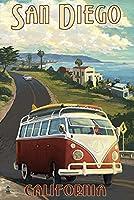 サンディエゴ、カリフォルニア州–VW Vanクルーズ 12 x 18 Art Print LANT-44944-12x18