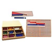 Fenteer モンテッソーリ 木製 数学教材 加算/減算ボード 数学ビーズ 数字カウント 子供 知育玩具 数学玩具