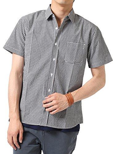(アーケード) ARCADE メンズ 半袖シャツ ブロード ストライプ チェックシャツ ギンガムチェック ウィンドペン 柄シャツ LL ギンガムチェックホワイト