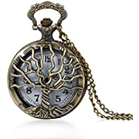 JewelryWe Mens Pocket Watch Stylish Tree of Life Hollow Retro Quartz Watch Arabic Numerals Pendant Necklace