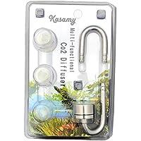 kasamy 水槽用 CO2拡散器 ステンレス製 ディフューザー 高さ調節可能 分離型 (シルバー Uパイプ 吸盤 セット)