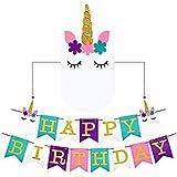 eixjaユニコーンHappy誕生日パーティーホオジロバナーBestユニコーンパーティー用品装飾、2018新しい外部デザイン&プレミアムフェルト JA006_2