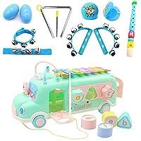 楽器おもちゃ セット 全11点 打楽器セット QIMMAOL 音楽玩具 誕生日 出産祝い 車型 収納リュック付き