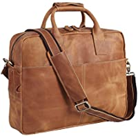 Polare Men's Thick Authentic Genuine Leather 16'' Laptop Case Bag Briefcase with YKK Metal Zippers