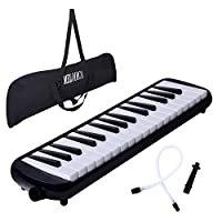 CAHAYA 鍵盤ハーモニカ 32鍵 メロディーピアノ 立奏用唄口 卓奏用パイプ セット ブラック