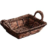籐製の収納バスケットハンドル付き織物収納ボックス