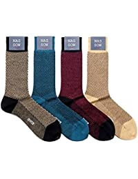 ナッソー NASSOW / ウール混ヘリンボーンソックス(靴下) (4 colors) メンズ