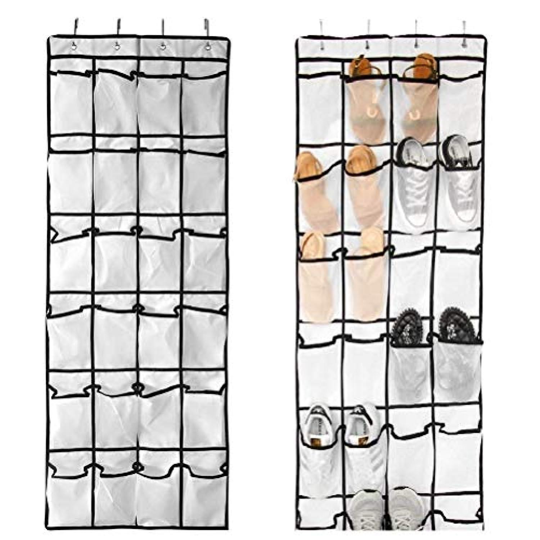 HAOUDOU ドア掛け式靴オーガナイザー 24個の大きなメッシュ生地ポケット (58インチ x 21.6インチ) ホワイト