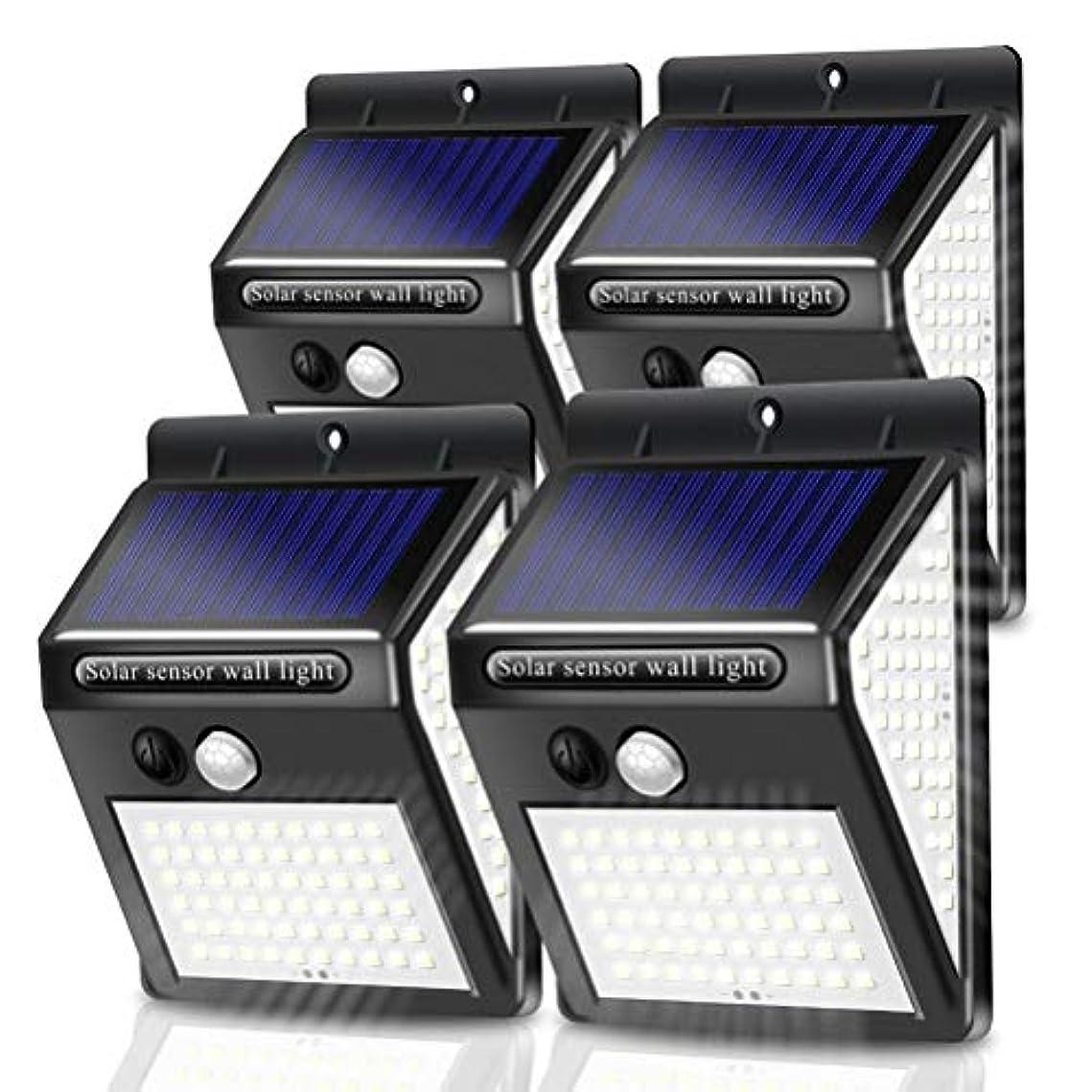 人気強化実業家LEDソーラーライト屋外、PIRモーションセンサーガーデンフロントドア経路のためのIP65防水スーパーブライトウォールのセキュリティライト(4パック),100 led