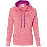 J America J8616 Ladies Cosmic Contrast Pullover Hooded Fleece - Fire Coral & Magenta, Extra Large by J. America