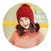 レディース 冬 ニットウール キャップ かわいい 耳あて 冬 二重厚い暖かいファッション 冬 キャップ,ワインレッド,M(56-58cm)