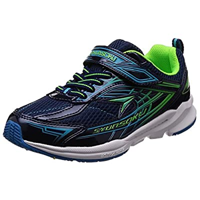 [シュンソク] 運動靴 通学履き 瞬足 幅広 衝撃吸収 高反発 19~24.5cm キッズ 男の子 ネービー 22 cm 3E