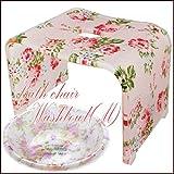 ちょっぴり訳あり!不揃い2点セット 'New'薔薇・ピンクローズ バスチェア・洗面器(M)!エレガントなローズ。。。上質なアクリル製 風呂イス