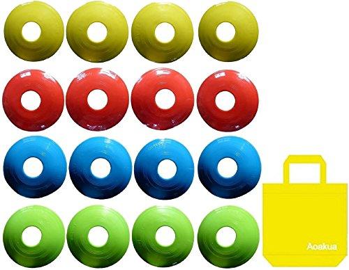 Aoakua 今までになかった フラット コンパクトな ディスク マーカーコーン 収納袋付 16枚(全4色-各4枚)