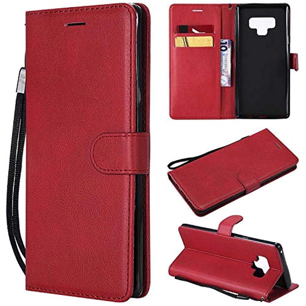 国家拍車それGalaxy Note 9 ケース手帳型 OMATENTI レザー 革 薄型 手帳型カバー カード入れ スタンド機能 サムスン Galaxy Note 9 おしゃれ 手帳ケース (3-レッド)