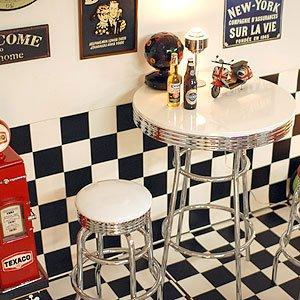 西秀家具店 トレンディ カウンターテーブル ホワイト ハイテーブル 丸型 アメリカン アメリカ50th 60th 50's 60's 50's 60's アメリカン ダイナー アメリカン雑貨 レトロ バーテーブル