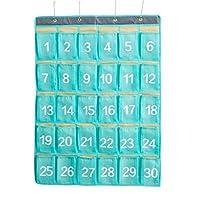AZDENT番号付きポケットチャートの教室セル電話ハンギングストレージオーガナイザー30ポケット