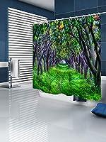 カーテン - 3 Dデジタル印刷肥厚と拡大ポリエステル防水浴室のカーテントイレの仕切りのカーテン、ワイド240 X 200の高さ