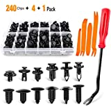 240 Pcs Push Type Retainer Clips AUSELECT Bumper Car Plastic Fasteners Retainer Kit with 12 Most Popular Size Door Trim Panel Clips for GM Ford Toyota Honda Chrysler
