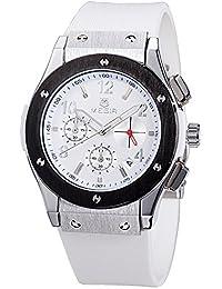 MEGIR レディース シリコーンバンド 合金ケース クロノグラフ 防水 ウォッチ スポーツ クォーツ 腕時計 3002M (ホワイト)