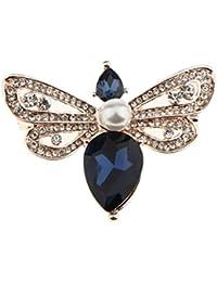 Blesiya ビンテージ ラインストーン ビーブ ローチ 女性 ファッション 昆虫 ブローチ ピン ゴールド トーン 全4色 - 青