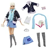 ZITA ELEMENT バービー用服装 きせかえ 8イン1セット コート+チョッキ+スカート+ニーハイソックス+ベルト+マフラー+帽子+ハンドバッグ