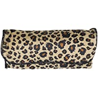 Large Stylish Glasses Case - Brown Felt Leopard Print Semi Hard Protective Holder Pouch for Readers Sunglasses and Eyeglasses with Front Snap Closure - by OptiPlix