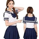 セレカジSIZE カラー セーラー服 制服 リボン ミニスカート 女子高生 コスプレ 衣装 (XL, ダークブルー)