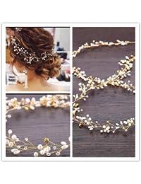 ウェディング ヘッドドレス 花嫁 髪飾り ブライダル 二次会 カチューシャ ウェディング パール+ラインストーン (Gold)