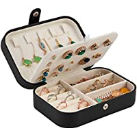 Jewelry Travel Organizer Small Jewelry Box Leather Women Girls Traveling Jewelries Case for Rings Earrings Necklaces Bracelets Portable Jewellery and Accessories Storage Holder