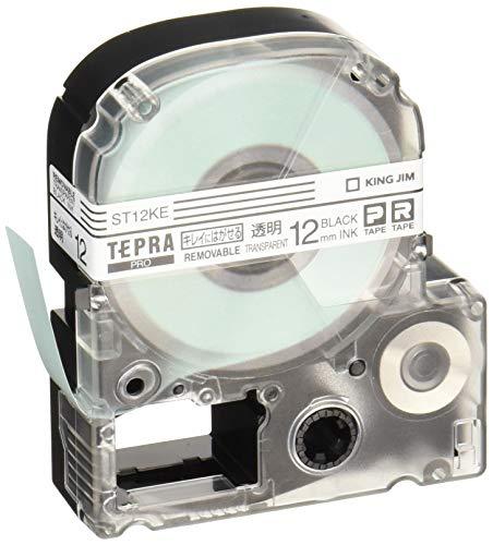 テプラ PROテープ キレイにはがせるラベル 12mm 透明ラベル(黒文字) 1個